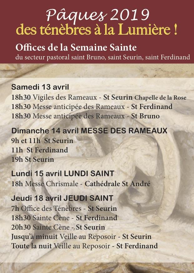 Pâques 2019 : Offices de la Semaine Sainte